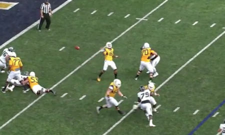 West Virginia quarterback backward pass