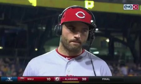 power goes out during Joey Votto's post game interview